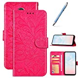 Robinsoni Case Compatible with Galaxy J4 2018 Phone Case Wallet Galaxy J4 2018 Leather Phone Cover Shockproof Kickstand Case Notebook Cover Flip Stand Book Case Heavy Duty Case Rose Red