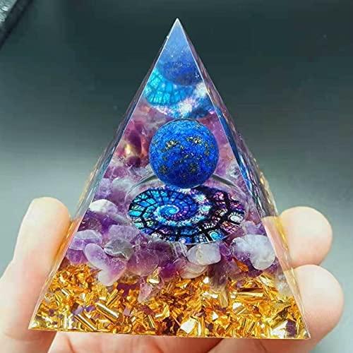 HCHL Pirámide de orgonita, Pirámide amethystoronita Hecha a Mano de 60mm El Juego de pirámide de Cristal con generador de e (tamaño : 60X60mm)