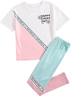SOLY HUX Girl's 2 Piece Outfits Butterfly Embroidered Crop Top and Pants Set