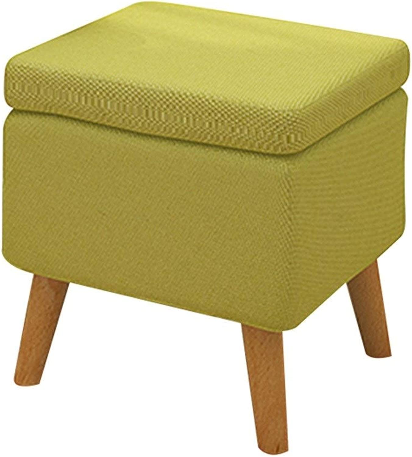 Makeup Stool Solid Wood shoes Bench Storage Bench Sofa Bench Coffee Table Stool Fabric Dressing Stool Storage Stool (color   Green, Size   40  40  42cm)