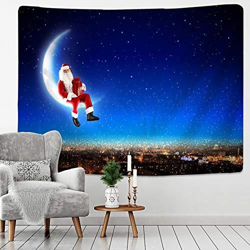 KHKJ Santa Claus Tapisserie Wandbehang Weihnachtsmond Fantasy Sternenhimmel Decke Galaxy Indian Mandala Muster Decke A3...