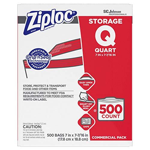 SC Johnson Professional ZIPLOC Storage Bags, For Food Organization and Storage, Double Zipper, Quart, 500 Count, Clear