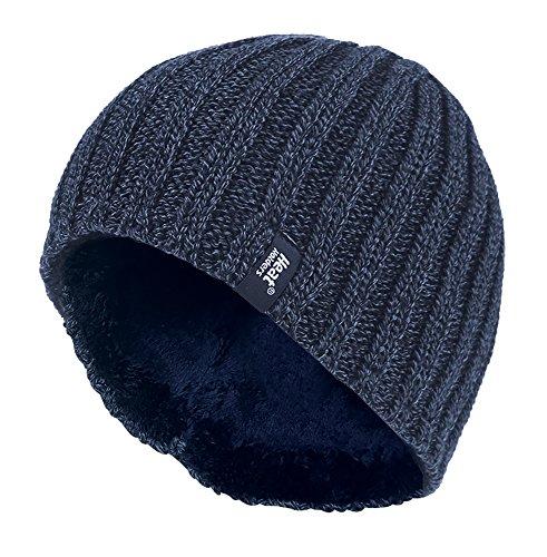 HEAT HOLDERS - Herren Thermisch vlies gefüttert gerippt gestrickte Wintermütze/Hut in 4 Farben 3.4 Tog Einheitsgröße (Dunelblau)