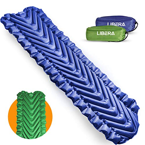 Libera Self Inflating Sleeping Pad for Camping l Insulated Sleeping Mat for Backpacking & Hiking l Ultralight Camping Mat l Includes Compact Storage Pouch & Repair Kit (Midnight Blue)