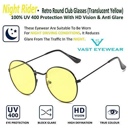 VAST® Round Shape Style Metal Frame sunglasses for men and women with Case