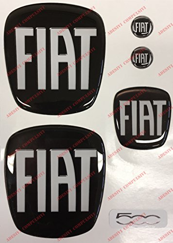 Logo Fiat 500 Anteriore, Posteriore + Volante + 2 Stemmi per Portachiavi. per Cofano e Baule. Adesivi resinati, Effetto 3D. Fregi Colore Nero-Bianco
