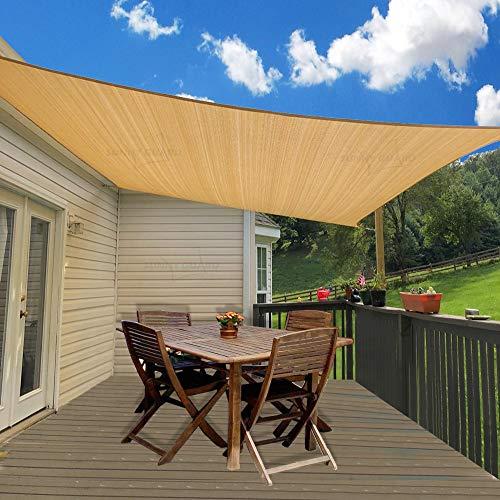SUNNY GUARD 14' x 18' Rectangle Sand Sun Shade Sail UV Block for Outdoor Patio Garden
