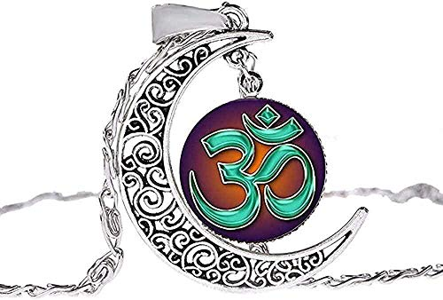 DUEJJH Co.,ltd Collar Hombre S Collar Musulmán Allah Ohm Hindu Budista AUM Om Símbolo Collar de Henna Flor Mandala Cristal Piedra Preciosa Hecha A Mano Hueco Luna Colgante Gargantilla