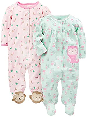 Simple Joys by Carter's Baby Girls' 2-Pack Cotton Footed Sleep and Play, Owl/Monkey, 0-3 Months