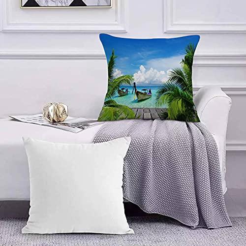Ccstyle Moderne Dekorative Baumwolle Set Kissenbezug Strand und tropisches Meer Holzdeck Schwimmboote Sunshine Honeypot Kopfkissenbezug Pillowcase Kissen für Wohnzimmer Sofa Bed,50x50cm