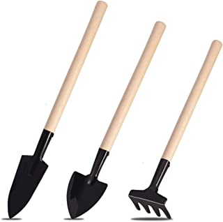 MUXIOM Garden Tool Set 3 PCS Mini Wooden Rake Shovel Spade Multifunction Tools for Succulent Tranplanting Hand Tools Gardening Care