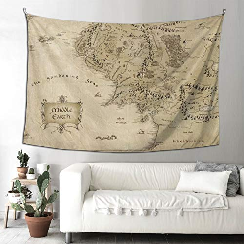Sdfg Middle Earth Map Tapestry Wall Hanging Home Decor for Living Room Bedroom (90' x 60')