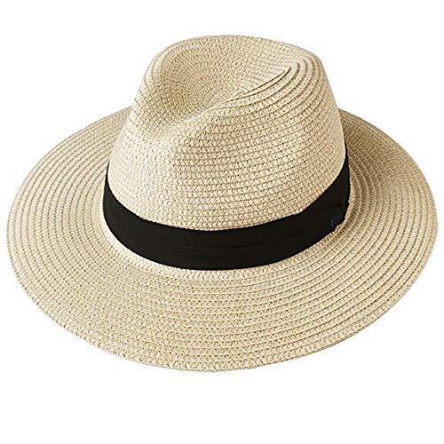 CBVG Sonnenhut Sommer Sonnenhut für Frauen Mann Strand Strohhut für Herren UV-Schutz Cap, beige, M