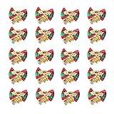 クリスマス蝶結び 鈴ベル付き 20個セット クリスマスツリー 花輪 クリスマスリース飾り DIY用 手作りプレゼント ペット首輪 ワイン瓶飾り プレゼント包装 ラッピング適用