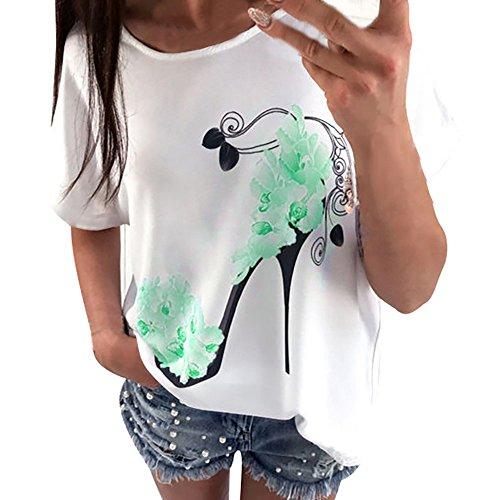 Momoxi Sommer Damen Kurzarm High Heels Gedruckt Tops Casual Lose Bluse T-Shirt Short Sleeve Printed Tops Grün M