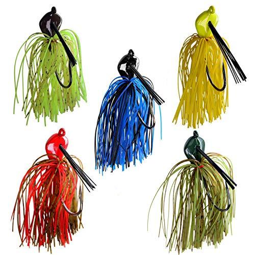 THKFISH 20 g / 0.7 oz Jigs de Pesca de Agua Salada de Agua Dulce Color Mezclado Faldas señuelos de Pesca para Bass Crappie Panfish 5 Unids/Set