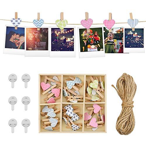 Cuerda de fotos Pared Colgar Fotos de Pared con 100 CM Cuerdas y 30 Piezas Mini Pinzas de Madera Decoración del Hogar y Regalo