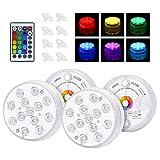 Aigostar - 4 x Luz LED sumergibles para bañeras o piscinas. 13 LED, 4 modos de iluminación, RGB 16 colores, protección IP68. Lámparas impermeables mando a distancia. Decoración piscina, jardín