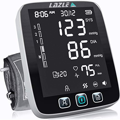[All New 2020] Blood Pressure Monitor by LAZLE: Automatic Upper Arm Machine & Digital BP Cuff Kit - Largest Display - 200 Sets Memory, Includes...