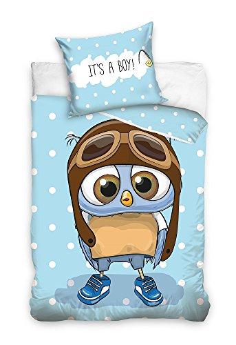 Parure de lit 3D Hibou les jeunes It's a Boy 100% coton enfants linge de lit Parure Housse de Couette 135 x 200 cm (certifié Öko-Tex Standard 100)