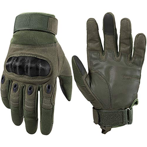 WTACTFUL Touchscreen Motorcycle Tactical Full Finger Gloves for Airsoft Paintball Cycling Motorbike ATV Hunting Hiking Riding Racing Climbing Operating Work Outdoor Sports Gloves Size Large Green