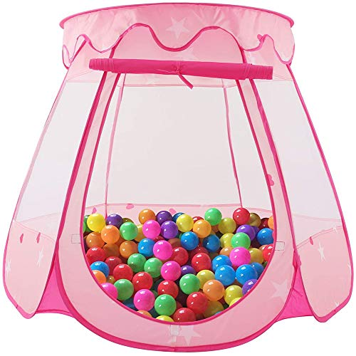 DGSD Princess Castle game tents children play house pink ball collapsible pop-house,Pink