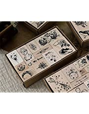 Mvchifay Vintage Wooden Stamps Set Rubber Seal for DIY Stationery Scrapbooking Handbook Diary Letter Decor (Star Series)