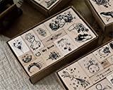 Mvchif Vintage Wooden Stamps Set Rubber Seal for DIY Stationery Scrapbooking Handbook Diary Letter Decor (Star Series)