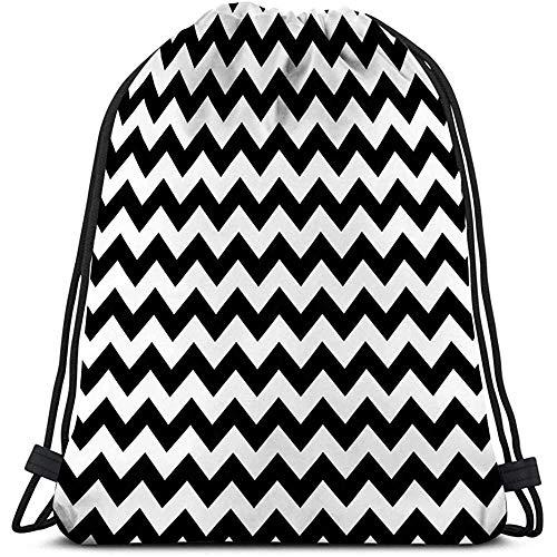 Tas met trekkoord Naadloos Patroon Zigzag Abstract Geometrische Textuur Zwart Wit Kleur Grafische Stijl Behang