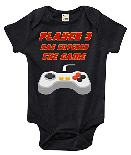Baby Bodysuit - Player 3 Has Entered The Game Cute Video Game Baby Clothes (Black, 0-3 Months)