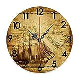 GEEVOSUN Reloj de Pared Redondo silencioso sin tictac Reloj náutico océano Barco de Vela brújula y patrón de Mapa, decoración del hogar para Sala de Estar, Cocina, Dormitorio y Oficina 12 x 12 pulgad