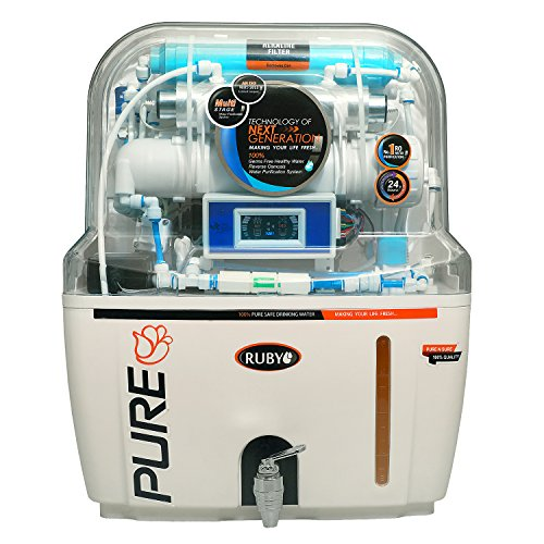 Ruby Water Purifier RO+UV+UF+TDS+MAT with AutoFlush & Display 6 Stage Purification and 12 litres Storage Capacity (Pre-Filter,Sediment Filter,Activated Carbon & Mineral Filter Cartridge)