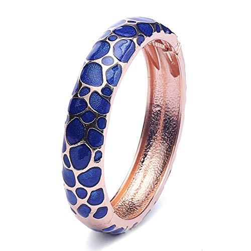 UJOY Armband mit buntem Cloisonne-Armband, Emaille Handarbeit Gold Federscharnier Geburtstag Urlaub Party Geschenke Armreifen - blau