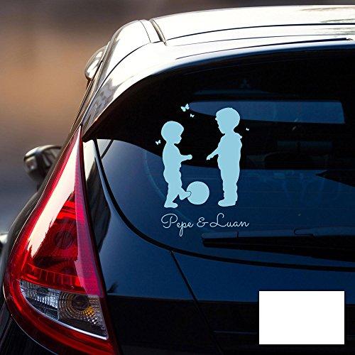 Autotattoo Autoaufkleber Stoßstangenaufkleber Heckscheibe Jungs Kinder mit Ball und Wunschnamen M2195 - ausgewählte Farbe: *weiß* ausgewählte Größe: *S - 18cm breit x 25cm hoch*