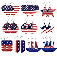 Iceyyyy 10 Pairs Independence Day American Flag Patriotic Faux Leather Earrings -Double Side USA Flag TeardropEarrings -4th of July Jewelry Accessory for Woman and Girl [並行輸入品]