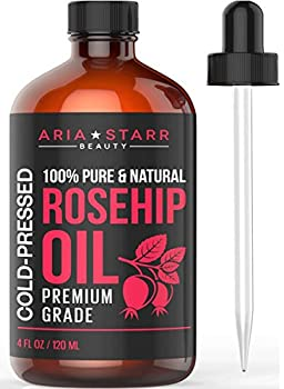 Aria Starr Rosehip Seed Oil Cold Pressed For Face Skin Acne Scars - 100% Pure Natural Moisturizer - 4 OZ