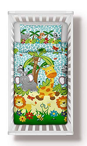 Jungle Animals Boys Girls Baby Nursery Bedding Set 90x120 cm Duvet Cover + Pillowcase to fit Cot 100% Cotton (90x120 cm)