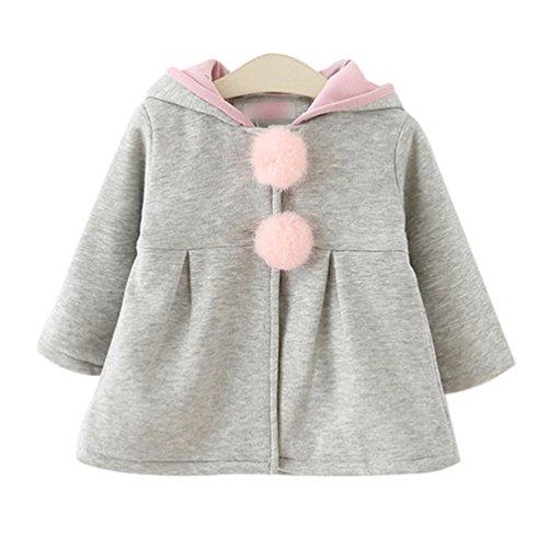 Yuncai Niedlich Hasen Ohren Baby Mädchen Baumwolle Mantel Kapuzenjacke Weich Warm Bekleidung Winter Grau 90