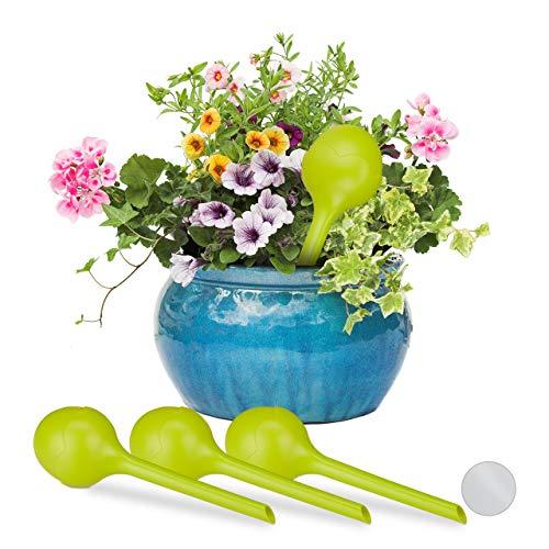 Relaxdays Bewässerungskugel Knospe im 4er Set, dosierte Bewässerung, Gießhilfe Büro, Urlaub, Ø8 cm, Kunststoff, gelbgrün, 4 Stück