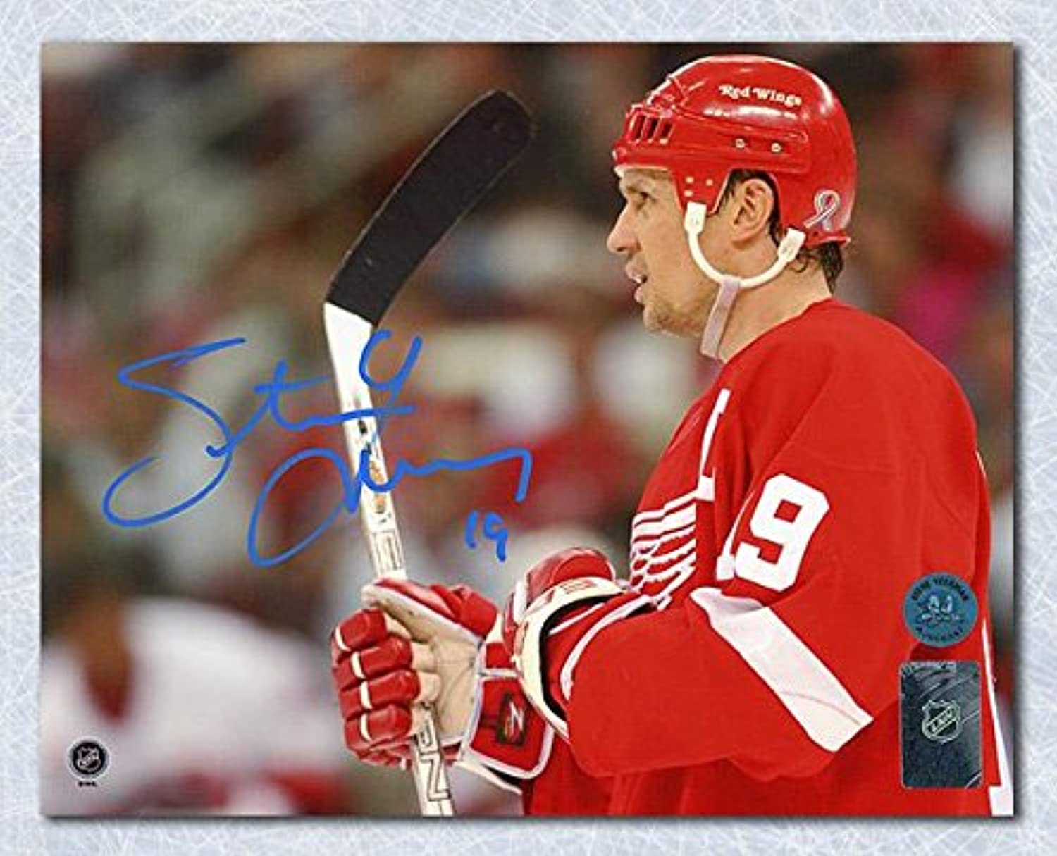 Signed Steve Yzerman Picture8x10 Horizontal Close UpAutographed NHL Photos