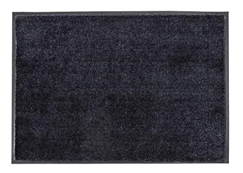 Schöner Wohnen Kollektion strapazierfähige Schmutzfangmatte Miami – getuftete Fußmatte 67x100 cm in Anthrazit-schwarz – waschbarer Sauberlauf