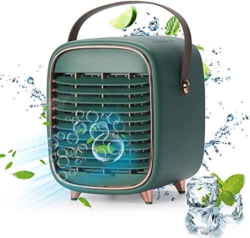 Ventilador de aire acondicionado portátil, enfriador evaporativo recargable, ventilador de escritorio a batería con asa, atomización de 3 velocidades, adecuado para dormitorios de oficinas pequeñas