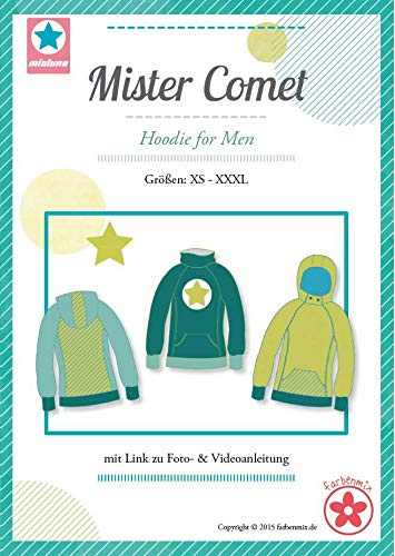 Mister Comet Farbenmix Schnittmuster (Papierschnittmuster für die Größen XS - XXXL ) Männerhoodie