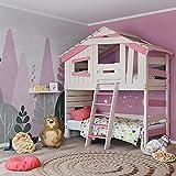 Alpin Chalet - Cama alta infantil de matrimonio de madera maciza lacada en color blanco y rosa, accesorios: + con puerta (superior)