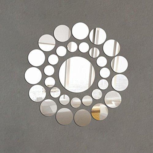 Coloré(TM) stickers muraux Autocollant 31X Rond Miroir Wall Sticker Acrylique Surface Decal Home Room DIY Art Décor (Argent)