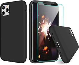VEGO Compatible for iPhone 11 Pro case, Liquid Silicone Gel Rubber Microfiber Lining Anti Scratch Case with Screen Protector for iPhone 11 Pro 5.8 inch - Black
