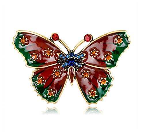 N/W Red Butterfly Brooches Animal & Insect Pin for Women Crystal Brooch Enamel Pin Clothing Accessories Jewelry Gift