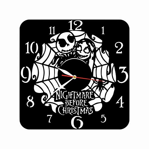 """mamakyma Offer. Cut of Plastic 11,4"""" The Nightmare Before Christmas Wall Clock. Non-Tickling. Classic Black. for Any Type of Room."""