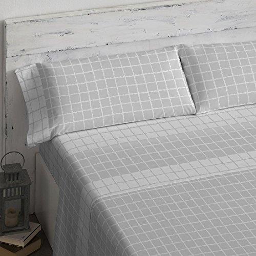 Burrito Blanco Juego de Sábanas de Algodón Ecológico 301 con Diseño de Cuadros para Cama de Matrimonio de 150x190 cm hasta 150x200 cm, Beige