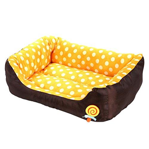 LvRao Waschbar Haustierbett für Hund, Katze & Haustier Rechteck Welpen Kissen Sofa Körbe Hundebett (Gelb, M: 58 * 45 * 14CM)